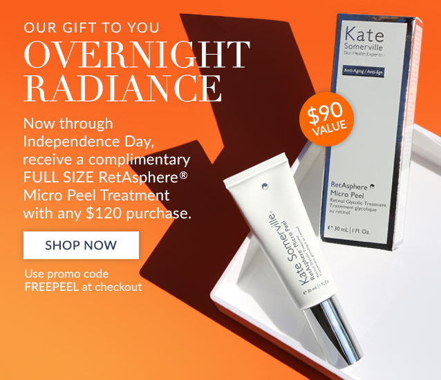 Our Gift to You: Now through Independence Day, receive a complimentary FULL SIZE RetAsphere Micro Peel Treatment with any $120 purchase. Use promo code FREEPEEL at checkout. SHOP NOW>