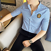 Men's Slim Shirt - Striped Print Standing...