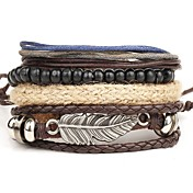 Men's Layered Wrap Bracelet / Leather Bra...