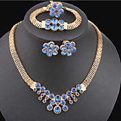 Crystal Jewelry Set - Gold Plated Flower ...