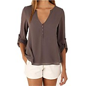 Women's Cotton Blouse - Solid Colored V Neck