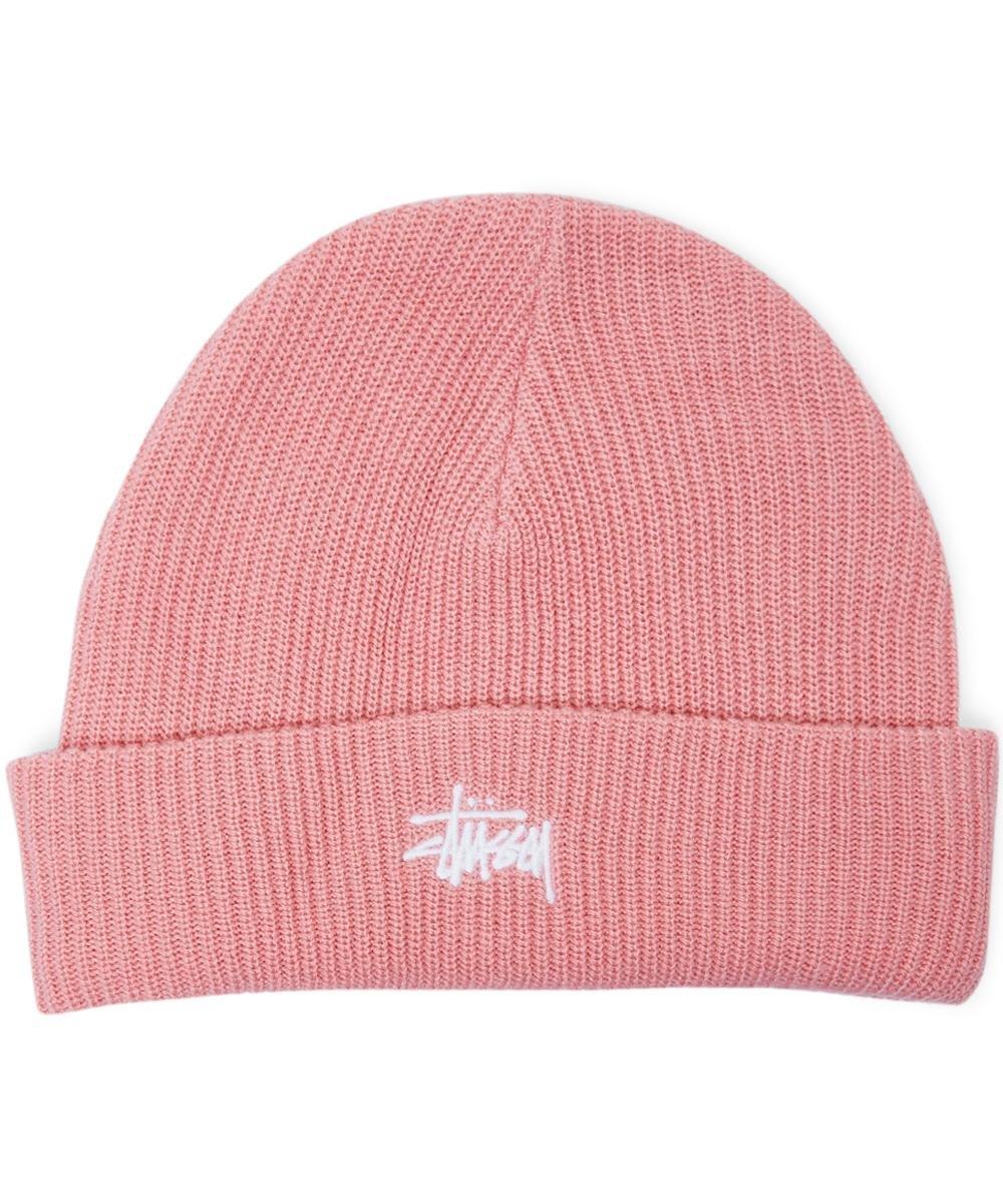 Basic Cuff Beanie Pink White Logo