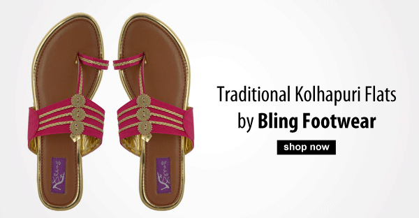 Traditional Kolhapuri Flats by Bling Footwear