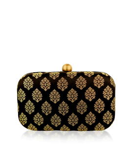 Black Hemloack Silk Brocade Clutch