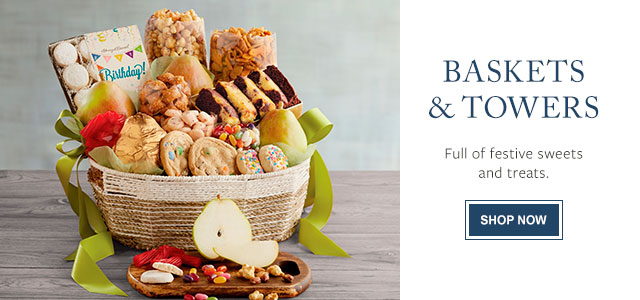 BASKETS & TOWERS - Full of festive sweets and treats.