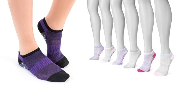 MUK LUKS Women's 6 Pair Pack No Show Compression Arch Socks - 5 Styles