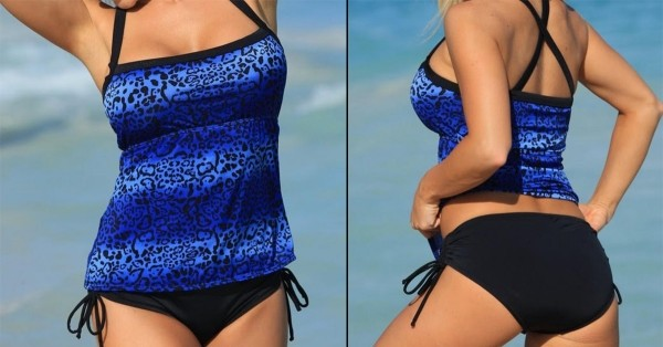 Plus Size 2 piece Blue Animal Print Swimsuit