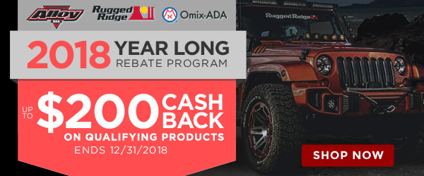 Omix | Get up to $200 cash back on quailfying Rugged Ridge, Omix-ADA, Alloy USA or Outland products | Ends 12/31/18