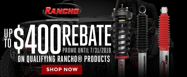 Rancho | Get up to $400 back on purchase of qualifying Rancho products | Ends 07/31/18