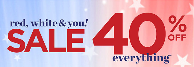 Red, White & You Sale: 40% Off Everything*!