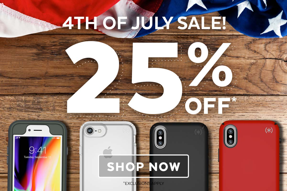 Fourth of July Sale! 25% OFF select Presidio iPhone X, iPhone 8 Plus, and iPhone 8 cases. SHOP NOW