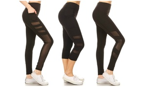 Women's High Waisted Capri and Full-Length Leggings (3-Pack)
