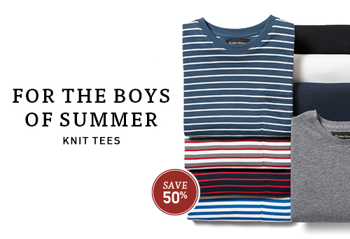 Knit tees, for the boys of summer.