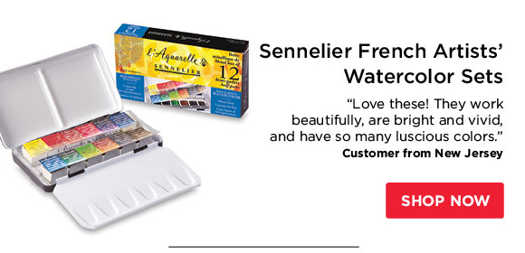 "Sennelier French Artists'  Watercolor Sets - ""Love these! They work beautifully, are bright and  vivid, and have so many luscious colors."" - Customer from New  Jersey"