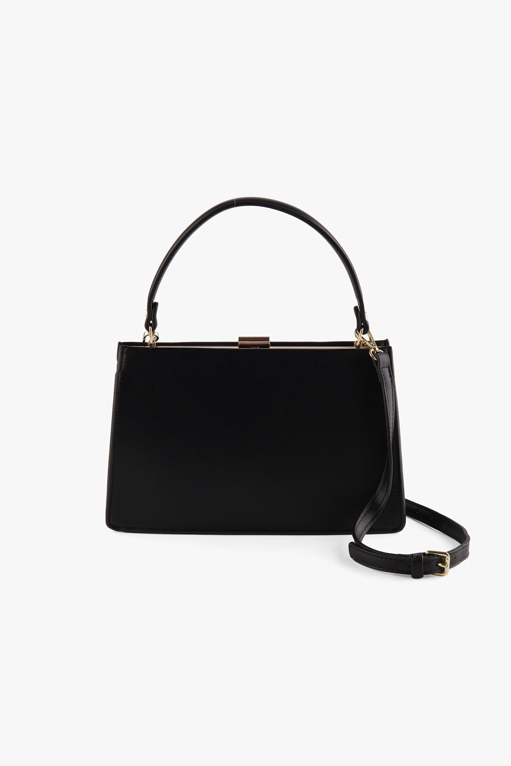 Classic Faux Leather Clasp Bag