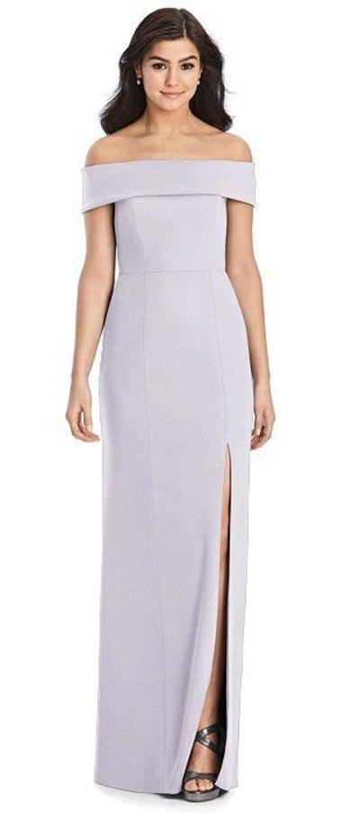 Dessy Collection 3030 - Crepe Off-the-Shoulder Dress in Moondance
