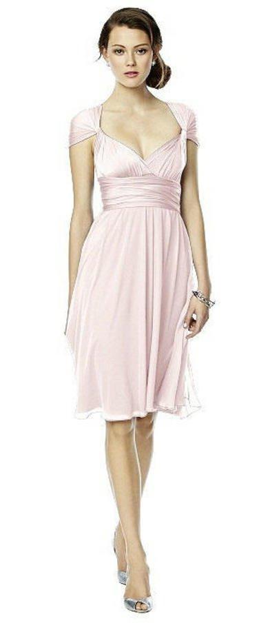 Twist Dress with Chiffon Overskirt in Blush