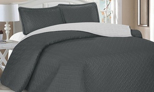 Reversible Embossed Microfiber Quilt Set (3-Piece)