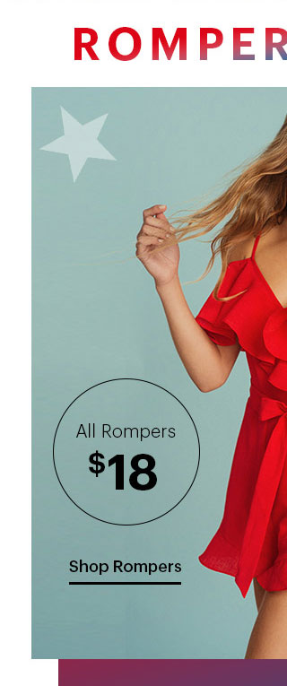 ROMPER PARTY! All Rompers $18 Shop Rompers