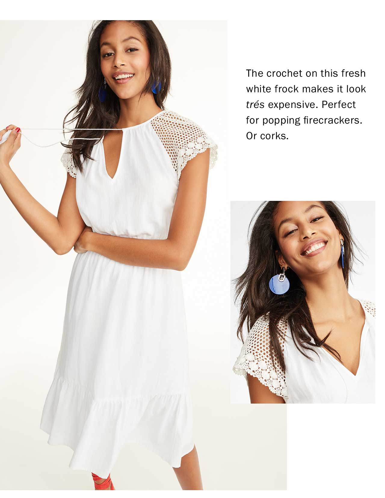The crochet on this fresh white frock makes it looktrsexpensive. Perfect for popping firecrackers. Or corks.