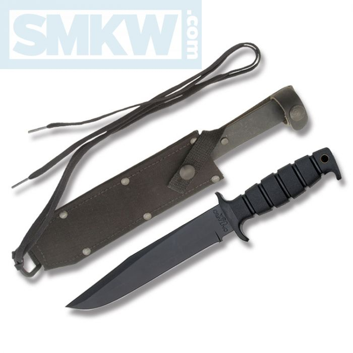 "ONTARIO SP-6 FIGHTING KNIFE WITH BLACK KRATON HANDLE AND BLACK POWDER COATED 1095 CARBON STEEL 7.938"" CLIP POINT PLAIN EDGE BLADE WITH BLACK CORDURA SHEATH MODEL 8325"
