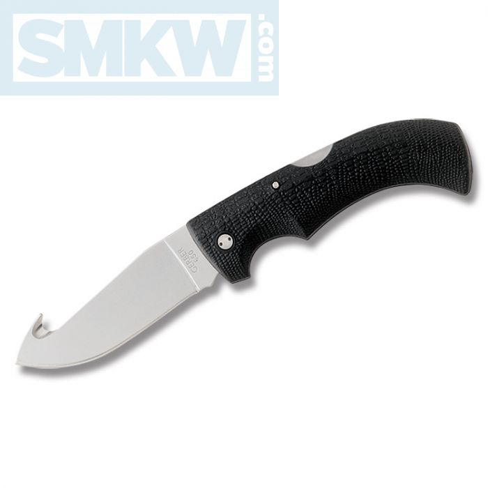 "GERBER GATOR GUTHOOK LOCKBACK WITH GATOR TEXTURED THERMOPLASTIC HANDLE AND HIGH CARBON STAINLESS STEEL 3.75"" GUTHOOK PLAIN EDGE BLADE AND NYLON BELT SHEATH MODEL 06932"