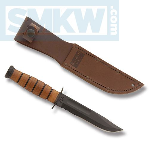 "KA-BAR U.S.A. SHORT FIGHTING KNIFE WITH STACKED LEATHER HANDLE AND BLACK EPOXY POWDER COATED 1095 CARBON STEEL 5.25"" CLIP POINT PARTIALLY SERRATED EDGE BLADE WITH TAN LEATHER SHEATH MODEL 1261"