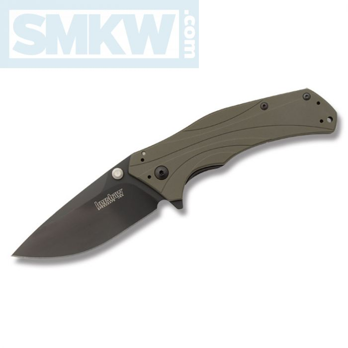 "KERSHAW KNIVES KNOCKOUT WITH 6061-T6 ALUMINUM HANDLES AND BLACKWASH COATED SANDVIK 14C28N STAINLESS STEEL 3.25"" DROP POINT PLAIN EDGE BLADE MODEL 1870OBLK"