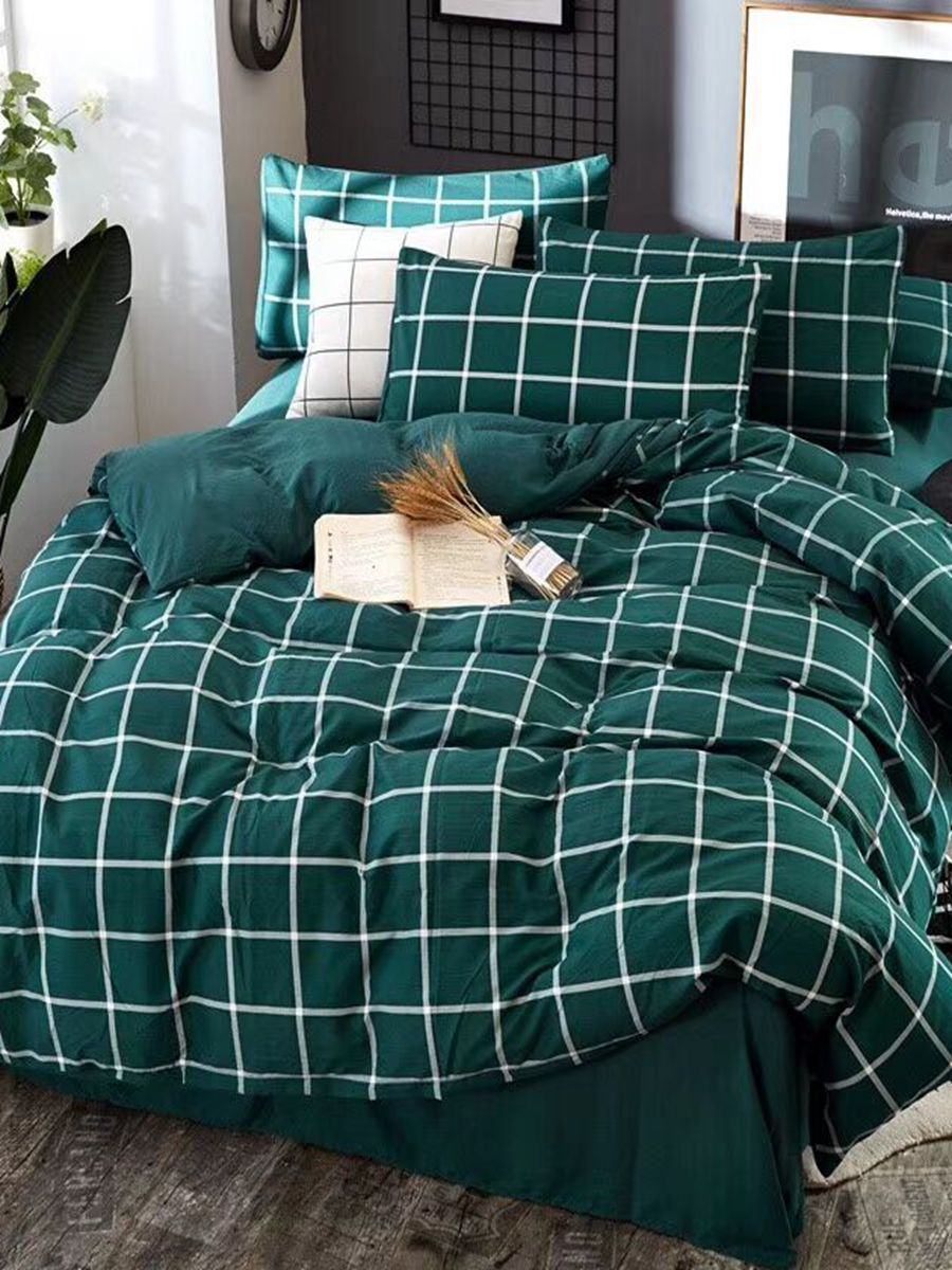 4Pcs Bedding Set Retro Style Plaid Pattern Creative Design Duvet Covers Set