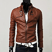 Men's Faux Fur / Faux Leather Slim Jacket...