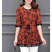 women's blouse - floral round neck