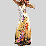 Women's Boho Swing Dress - Floral Backless