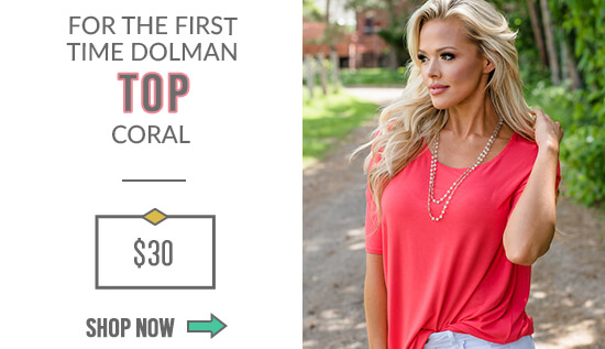 For the First Time Dolman Top Coral
