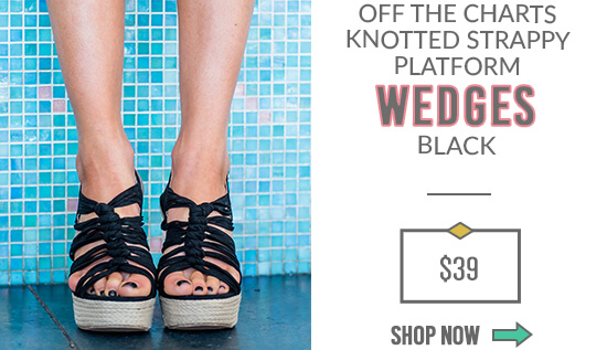 Off The Charts Knotted Strappy Platform Wedges Black