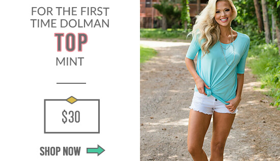 For the First Time Dolman Top Mint