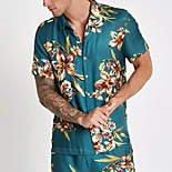 Blue short sleeve floral print shirt