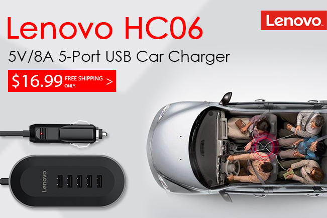 Deal - Lenovo HC06 5V/8A 5-Port USB Quick Car Charger ZP3051180501001