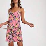 Pink floral tie front cami slip dress