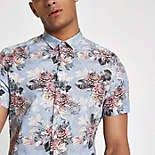Chemise bleu clair  fleurs