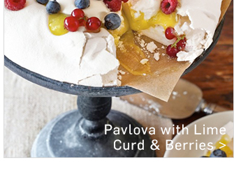 Pavlova with Lime Curd & Berries >