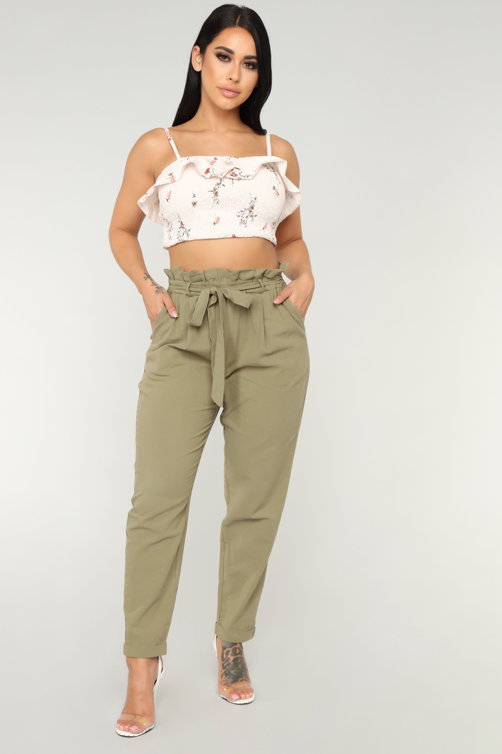 Sabrina Tie Waist Pants - Olive