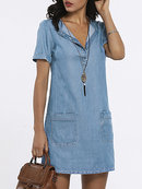 Women Shift Wrap Denim Casual...