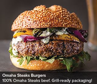 Omaha Steaks Burgers: 100% Omaha Steaks Beef. Grill-ready packaging!