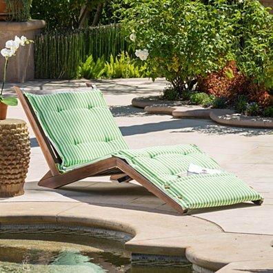 Midori Mahogany Wood Folding Chaise Lounger Chair w/ Green Striped Cushion