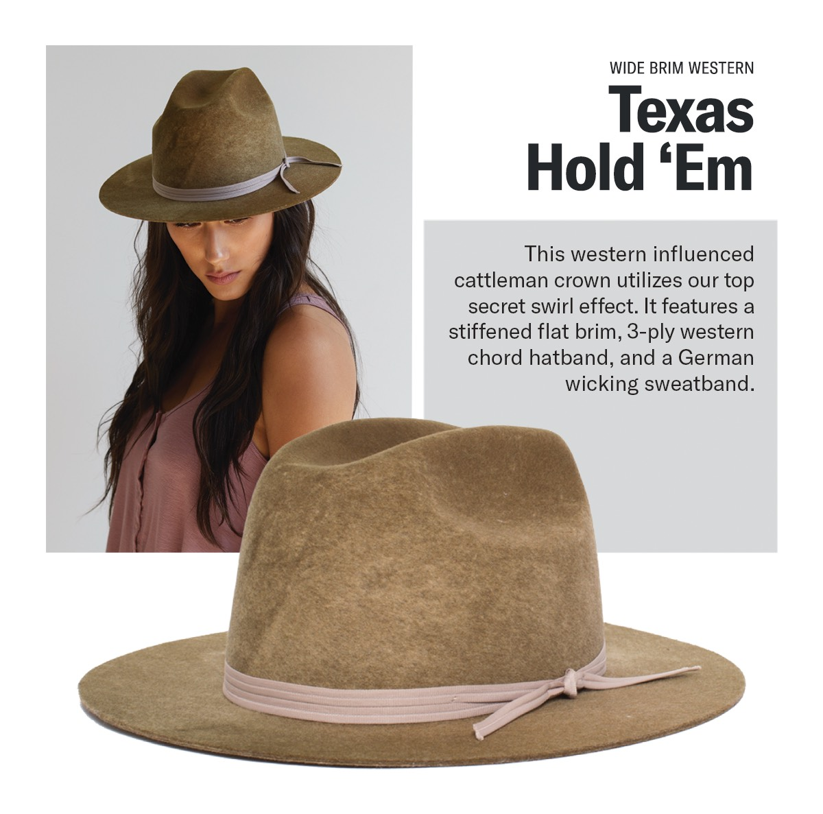 Wide Brim Western | TEXAS HOLD 'EM | This western influenced cattleman crown utilizes our top secret swirl effect. It features a stiffened flat brim. 3-ply, western chord hatband, and a German wicking sweatband.