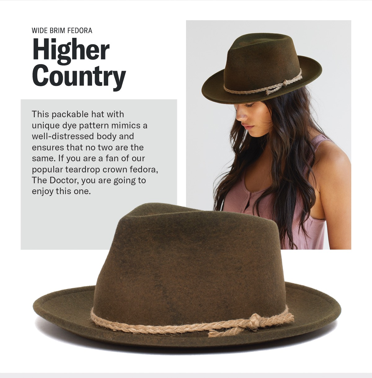 Wide Brim Fedora | HIGHER COUNTRY | This packable hat with unique dye pattern mimics a well-dressed body and ensures that no two are the same. If you are a fan of our popular teardrop crown fedora, The Doctor, you are going to enjoy this one.