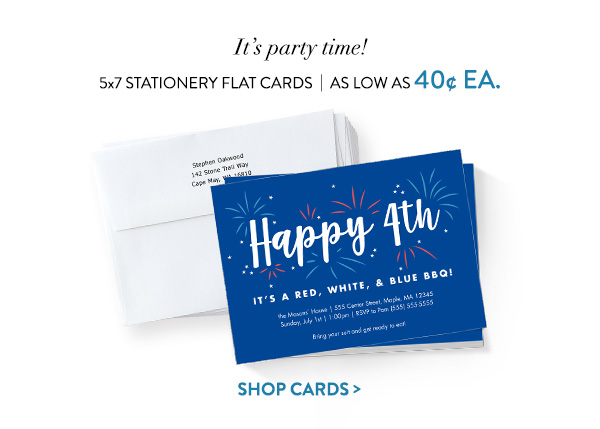 It's party time! | 5x7 Stationery Flat Cards | As low as 40 ea. | Shop cards >