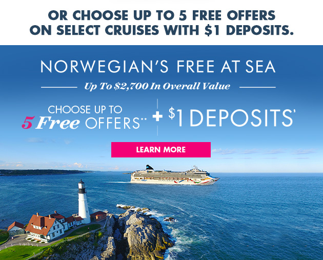 Norwegian's Free At Sea + $1 Deposits