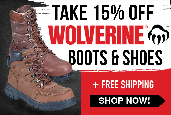 Take 15% Off Wolverine Boots/Shoes + FREE Shipping!