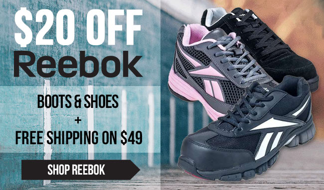 Take $20 Off Reebok Boots/Shoes + FREE Shipping!